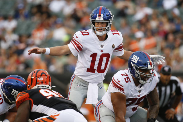 Eli Manning will be the Giants' starting quarterback in Week 1. (AP Photo/Frank Victores)