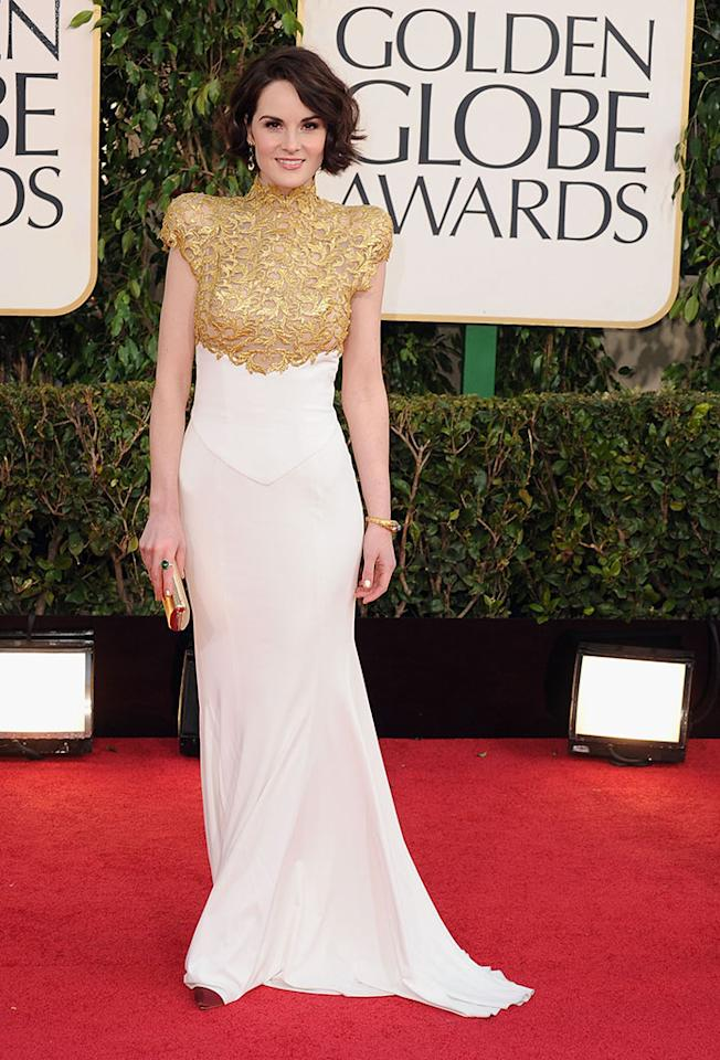 Michelle Dockery arrives at the 70th Annual Golden Globe Awards at the Beverly Hilton in Beverly Hills, CA on January 13, 2013.