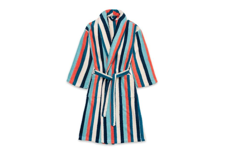 "$169, Desmond & Dempsey. <a href=""https://desmondanddempsey.com/collections/mens-robes/products/mens-towel-robe-medina-stripe"" rel=""nofollow noopener"" target=""_blank"" data-ylk=""slk:Get it now!"" class=""link rapid-noclick-resp"">Get it now!</a>"