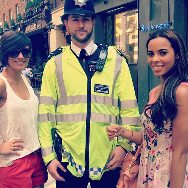 """Celebrity photos: Rochelle Wiseman and Frankie Sandford had a brush with the law this week, with Rochelle tweeting this photo of the pair with a policeman. She tweeted it with the caption: """"Though we were in trouble... But luckily he just wanted a pic! Phew! Couldn't resist the uniform! Lol."""""""