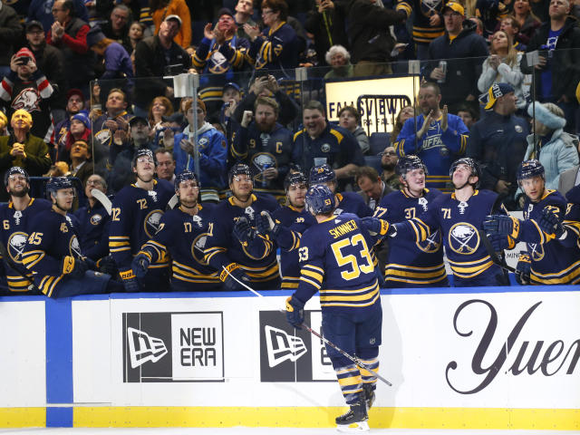 Buffalo Sabres forward Jeff Skinner (53) celebrates his goal against the Florida Panthers during the first period of an NHL hockey game, Tuesday, Dec. 18, 2018, in Buffalo N.Y. (AP Photo/Jeffrey T. Barnes)