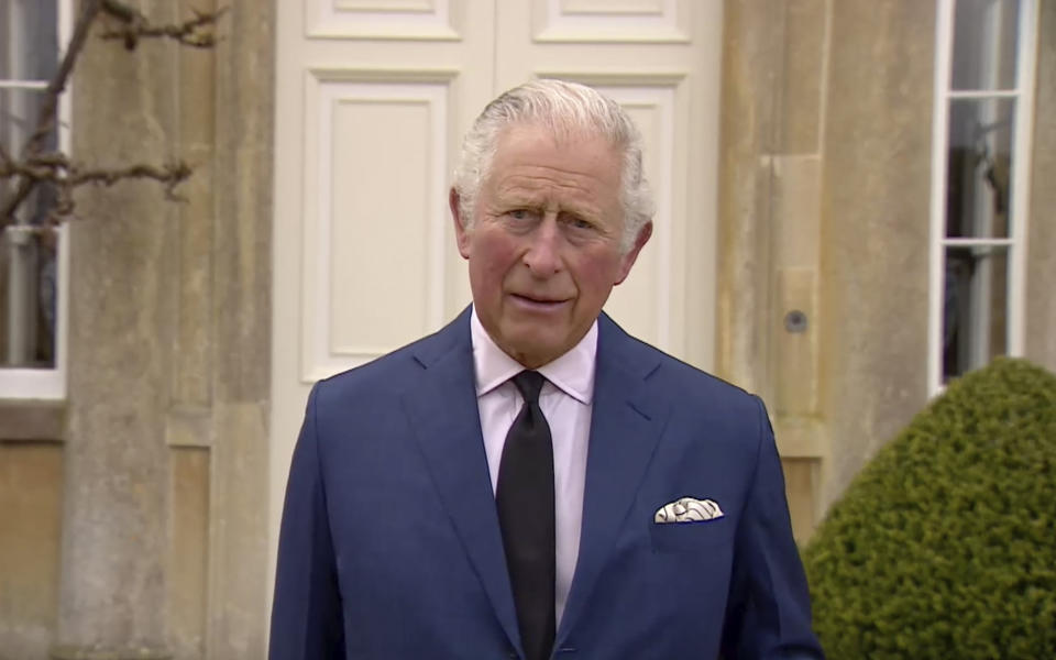 Prince Charles addresses the media, outside Highgrove House in Gloucestershire, England,
