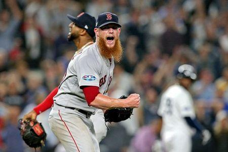 Oct 9, 2018; Bronx, NY, USA; Boston Red Sox relief pitcher Craig Kimbrel (46) celebrates after the last out in game four of the 2018 ALDS playoff baseball series against the New York Yankees at Yankee Stadium. Mandatory Credit: Brad Penner-USA TODAY Sports