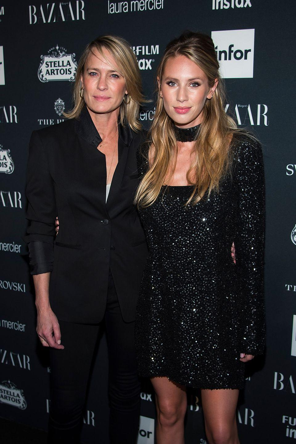 <p>Model and actress Dylan Penn strongly resembles her mother, Golden Globe winner Robin Wright. They both have dirty blond hair, sharp eyes, and a strong nose.</p>