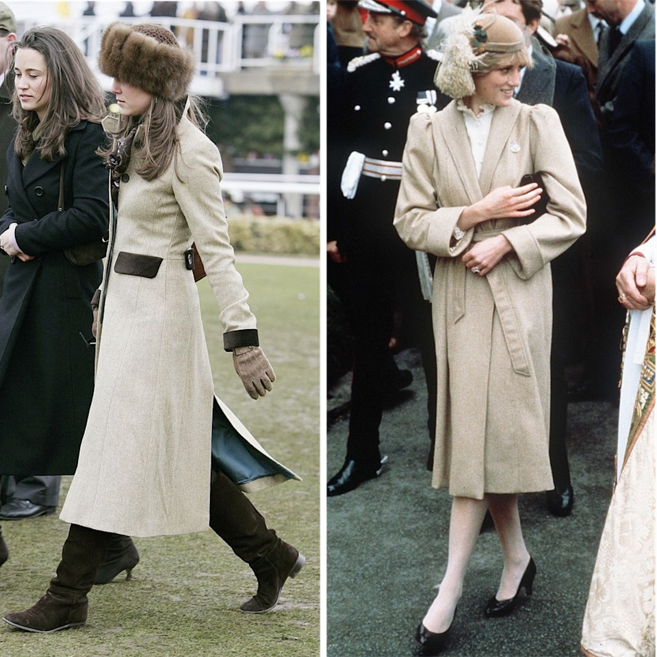 <p>During Diana, Princess of Wales' first visit to Wales in 1981, the then-20-year-old looked impossible chic in a camel and white outfit complete with veiled cloche and pie crust shirt. Echoing Diana's outfit, then 23-year-old Kate Middleton wore a beige coat and furry hat for the final day of the Cheltenham races in 2005.</p>
