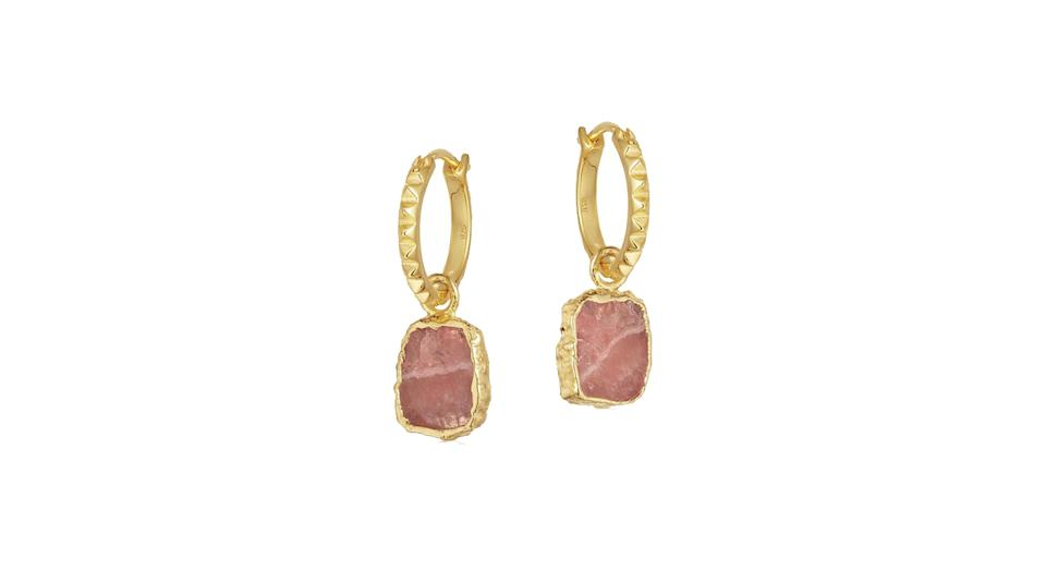 Rhodochrosite gold mini pyramid charm hoop earrings