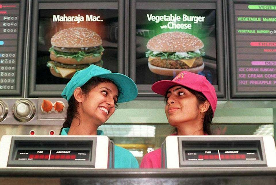 <p>Opened in 1996, this McDonald's with two enthusiastic employees was the first McDonald's in India. Menu items included Maharaja Macs and Vegetable Burgers with Cheese.</p>