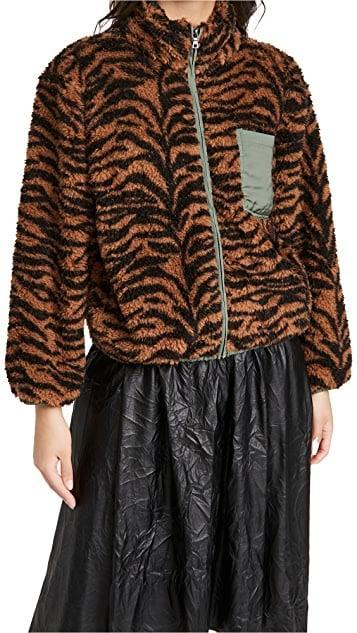 <p><span>Plush Tiger Fleece Jacket</span> ($105, originally $150)</p>