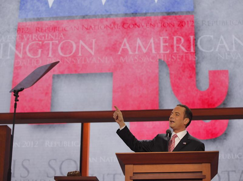 Chairman of the Republican National Committee Reince Priebus speaks to delegates during an abbreviated session the Republican National Convention in Tampa, Fla., on Monday, Aug. 27, 2012. (AP Photo/Charles Dharapak)