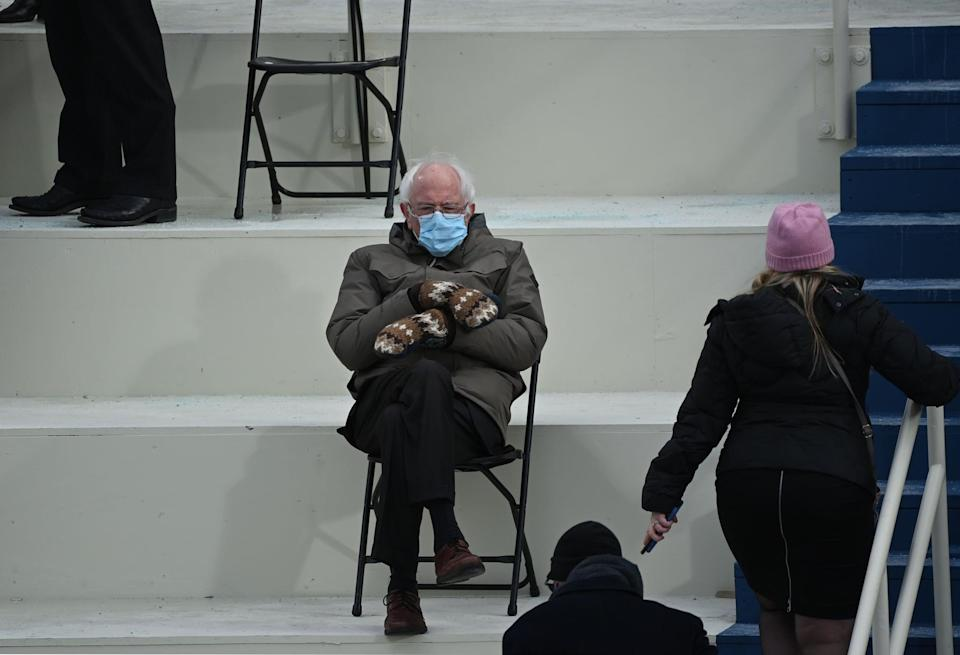 """<ul> <li><strong>What to wear: </strong>Former presidential candidate Bernie Sanders attended the 2021 presidential inauguration wearing quite the getup. And while he turned into a meme for other reasons, his mittens also seemed to take front and center. Become Bernie by wearing a mask, a utilitarian brown jacket, and knit brown and white mittens. Bonus points if you carry a folding chair around with you to do the <a href=""""https://www.popsugar.com/celebrity/bernie-sanders-at-the-2021-presidential-inauguration-photos-48117743"""" class=""""link rapid-noclick-resp"""" rel=""""nofollow noopener"""" target=""""_blank"""" data-ylk=""""slk:signature Bernie seated stance"""">signature Bernie seated stance</a>.</li> </ul>"""
