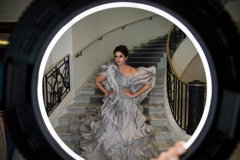 """Indian actress Huma Qureshi in a ruffled silver-grey gown by designer Gaurav Gupta, which she said was """"dreamy"""" to wear"""
