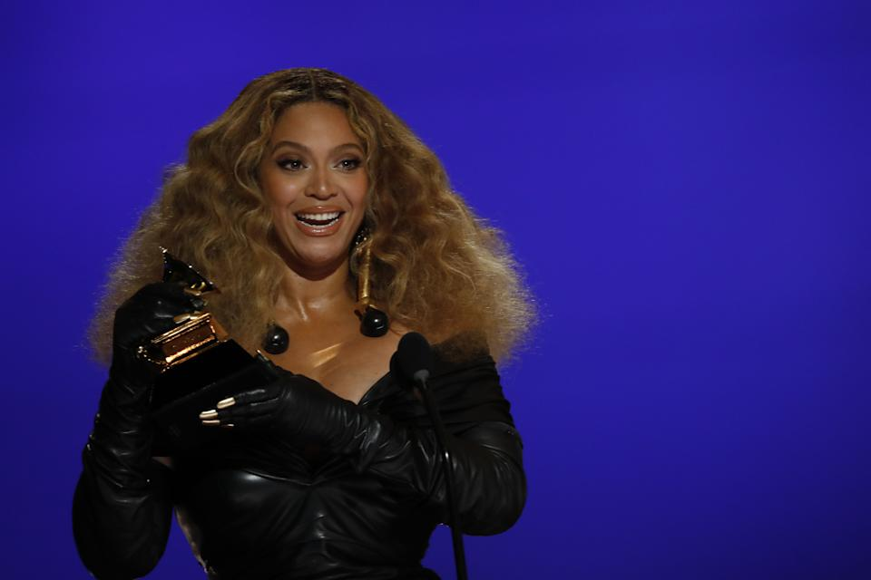 LOS ANGELES - MARCH 14: Beyoncé wins the award for Best R&B Performance at THE 63rd ANNUAL GRAMMY® AWARDS, broadcast live from the STAPLES Center in Los Angeles, Sunday, March 14, 2021 (8:00-11:30 PM, live ET/5:00-8:30 PM, live PT) on the CBS Television Network and Paramount+. (Photo by Cliff Lipson/CBS via Getty Images)