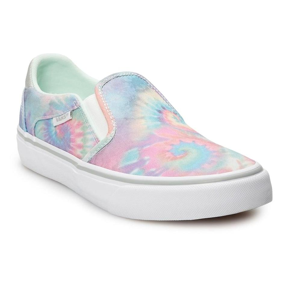 <p>These <span>Vans Asher Tie Dye Slip-Ons</span> ($60) have such fun colors on them!</p>