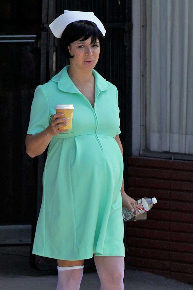 **EXCLUSIVE** Maya Rudolph shows off a huge baby bump in green scrubs on the set of 'Inherent Vice' in Los Angeles