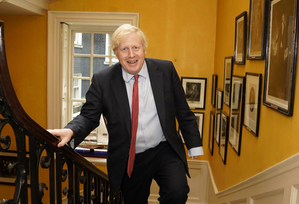 Handout photo issued by 10 Downing Street of Prime Minister Boris Johnson arriving back at Downing Street from hospital after the birth of his baby son with his partner Carrie Symonds.