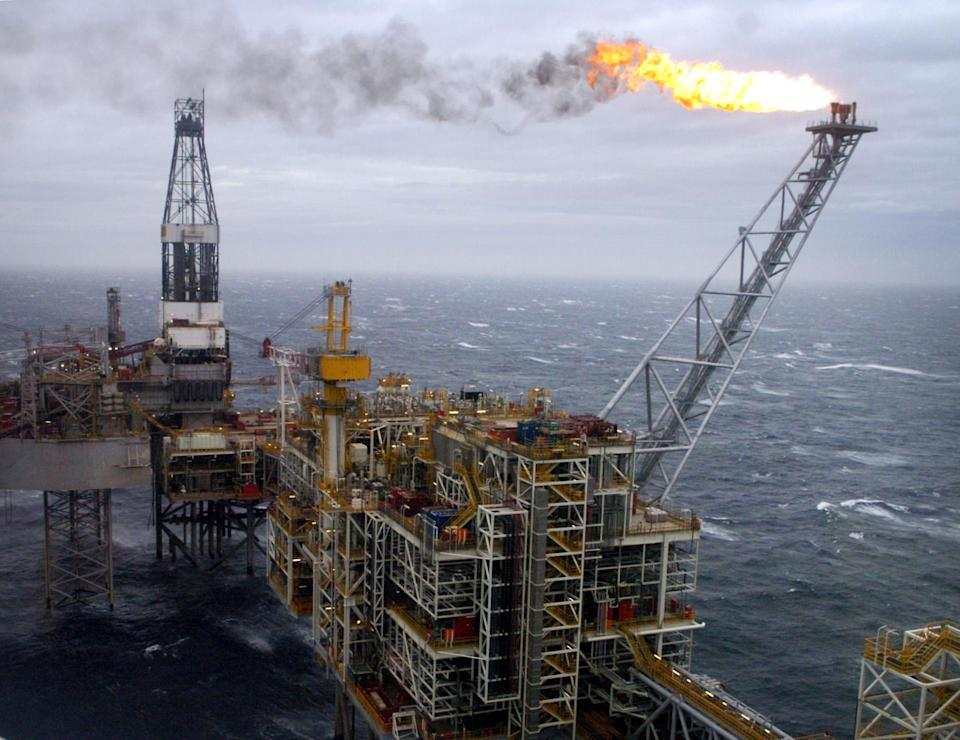 The Buzzard oil field in the North Sea, 50 miles from Aberdeen's coastline, which was visited by Britain's Prime Minister Tony Blair today.   (Photo by Danny Lawson - PA Images/PA Images via Getty Images)
