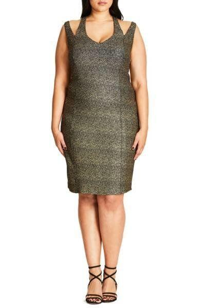 "The golden shimmer in this dress will take you from fall wedding, to holiday, to New Year's Eve -- and beyond. Get it on-sale at <a href=""http://shop.nordstrom.com/s/city-chic-metallic-glam-body-con-dress-plus-size/4509714?origin=category-personalizedsort&fashioncolor=GOLD"" target=""_blank"">Nordstrom for $67</a>."