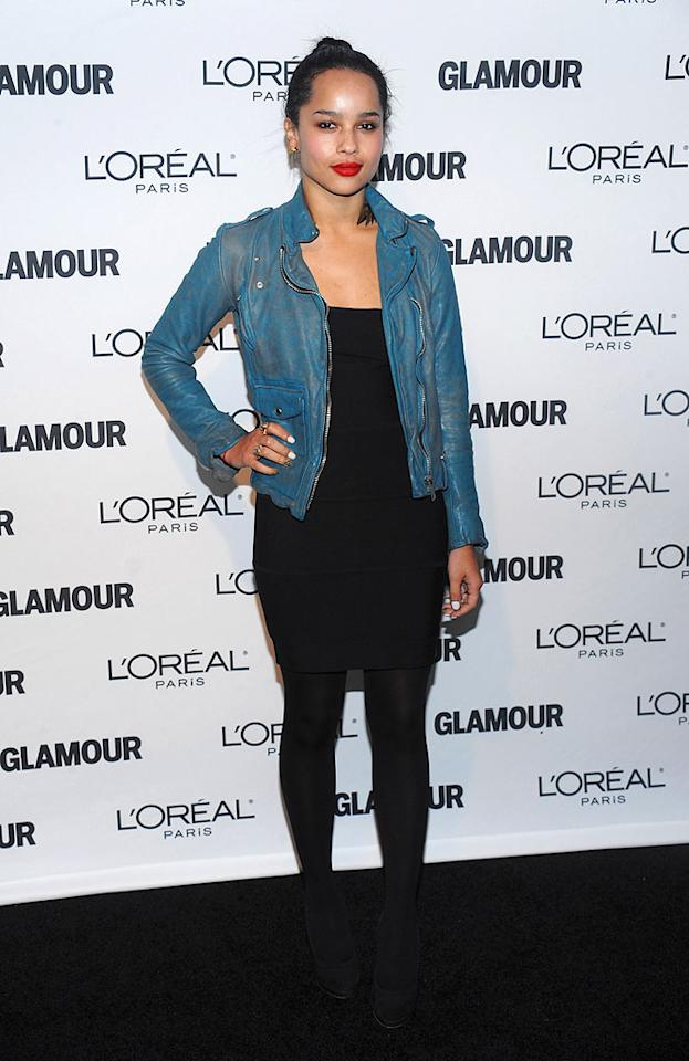 "Zoe Kravitz (that would be Lenny's daughter) brightened up her all-black ensemble with red lips and a turquoise leather jacket. Dimitrios Kambouris/<a href=""http://www.wireimage.com"" target=""new"">WireImage.com</a> - November 9, 2009"