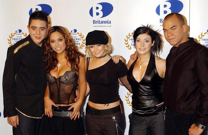 Hear'Say, (from left) Noel Sullivan, Myleene Klass, Suzanne Shaw, Kym Marsh and Danny Foster pictured in 2002. (Photo by Yui Mok - PA Images/PA Images via Getty Images)