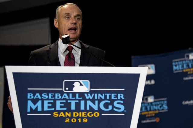 At industry events this winter, commissioner Rob Manfred expressed anger that negotiations with Minor League Baseball owners, including plans to potentially de-affiliate 42 teams, had been leaked. (Photo by Billie Weiss/Boston Red Sox/Getty Images)