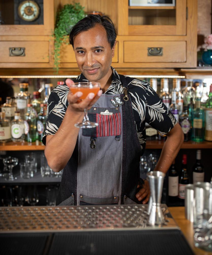 Rhik Samadder makes a mezcal cocktail called Naked and Famous at the Duchess of Dalston.