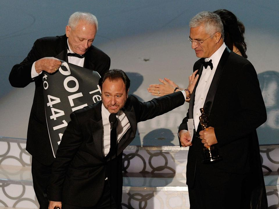 Director Louie Psihoyos only had time for two words before the orchestra cut him offGetty Images