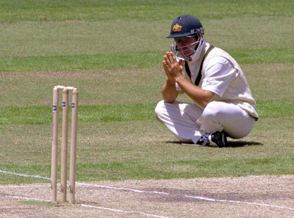29 Dec 2000:  Justin Langer of Australia appears to pray during the closing stages of the 4th test match between Australia and the West Indies, played at the Melbourne Cricket Ground in Melbourne, Australia. Mandatory Credit: Hamish Blair/ALLSPORT