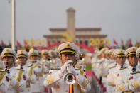 A military band rehearses for a ceremony to mark the 100th anniversary of the founding of the ruling Chinese Communist Party at Tiananmen Gate in Beijing Thursday, July 1, 2021. (AP Photo/Ng Han Guan)