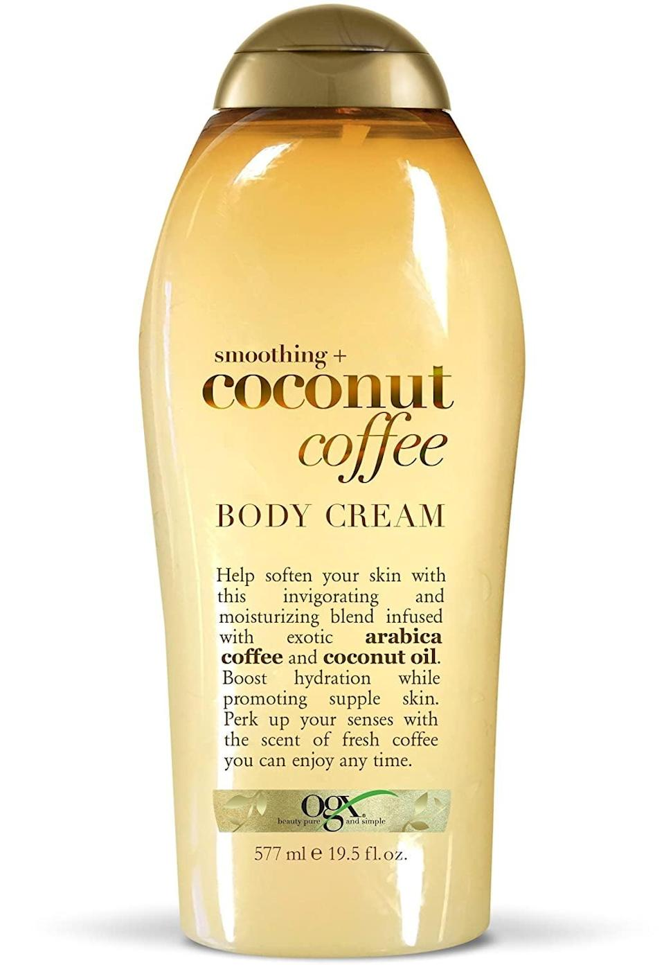 <p>You'll smell so warm and sweet with this moisturizing <span>OGX Coconut Coffee Body Cream</span> ($7).</p>