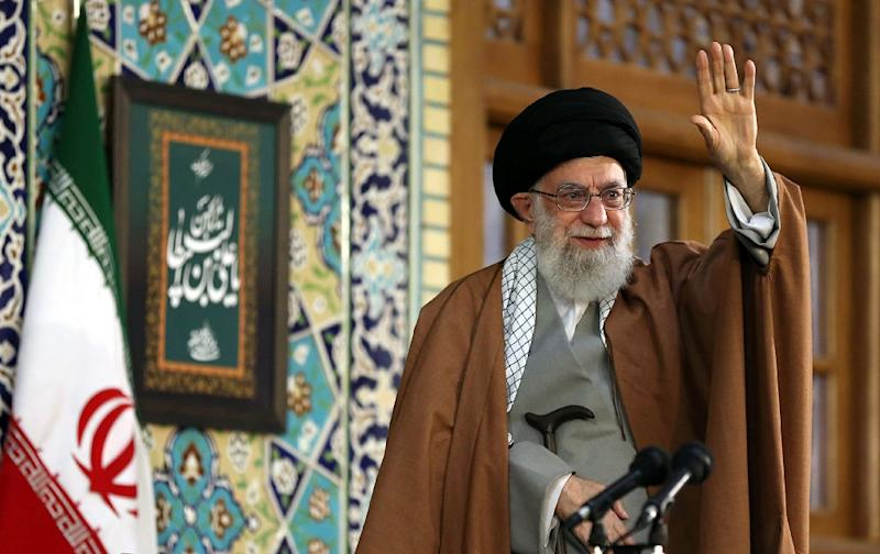 Supreme leader Ayatollah Ali Khamenei greets thousands of Iranians at Mashhad's Imam Reza shrine where he delivered a speech to mark Persian New Year
