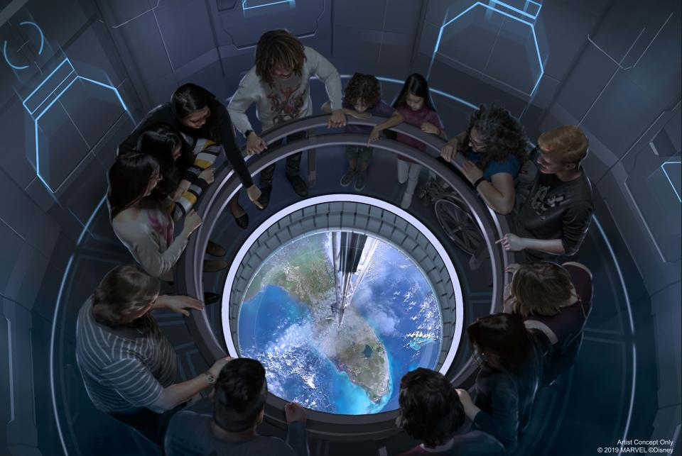The adventure begins when a crew member invites guests to step inside the restaurant's space elevator and prepare for liftoff. Guests will feel as if they are on a scenic excursion traveling 220 miles directly above Earth's surface, docking at the Centauri Space Station suspended just beyond the orbit of Mission: SPACE. Upon their arrival at the restaurant, guests will be guided to their seats past the grow zone, a spinning wall of produce that mimics Earth's gravity and represents some of the fresh ingredients used by the culinary team. (Disney)