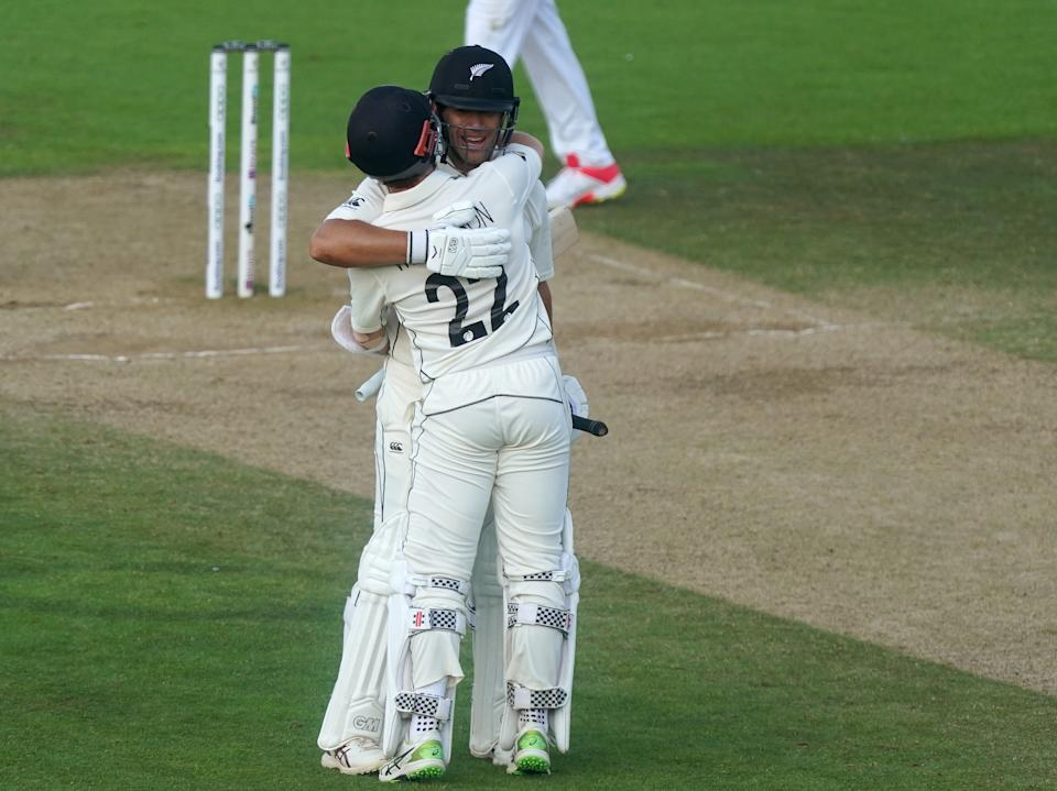 New Zealand's Kane Williamson (right) and Ross Taylor celebrate winning the match after day six of the ICC World Test Championship Final match at The Ageas Bowl, Southampton. Picture date: Wednesday June 23, 2021. (Photo by Adam Davy/PA Images via Getty Images)