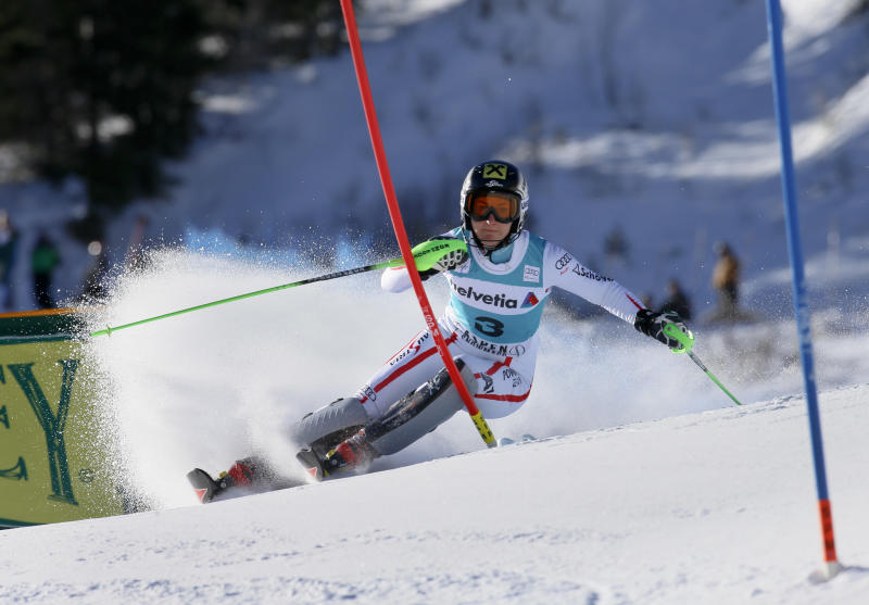 Austria's Kathrin Zettel speeds down the course during the women's World Cup slalom ski race in Aspen, Colo., on Sunday, Nov. 25, 2012. (AP Photo/Nathan Bilow)