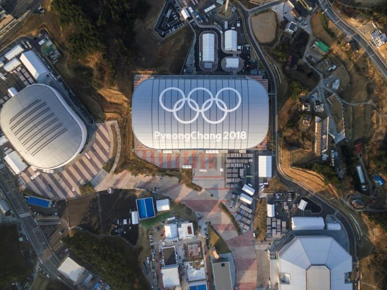Aerial view of Gangneung shows several venues for the 2018 Pyeongchang Winter Olympics in South Korea
