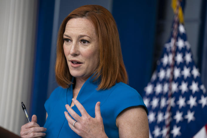 White House press secretary Jen Psaki speaks during a press briefing at the White House, Tuesday, April 20, 2021, in Washington. (AP Photo/Evan Vucci)