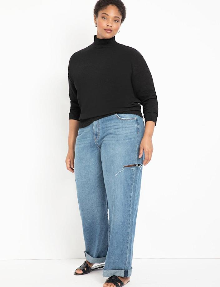 """Distressed, but not <em>too</em> distressed jeans are our favorite style as of late. <br> <br> <strong>Eloquii</strong> Distressed Wide Leg Jean with Roll Cuff, $, available at <a href=""""https://go.skimresources.com/?id=30283X879131&url=https%3A%2F%2Fwww.eloquii.com%2Fdistressed-wide-leg-jean-with-roll-cuff%2F1124045.html%3Fdwvar_1124045_colorCode%3D17"""" rel=""""nofollow noopener"""" target=""""_blank"""" data-ylk=""""slk:Eloquii"""" class=""""link rapid-noclick-resp"""">Eloquii</a>"""