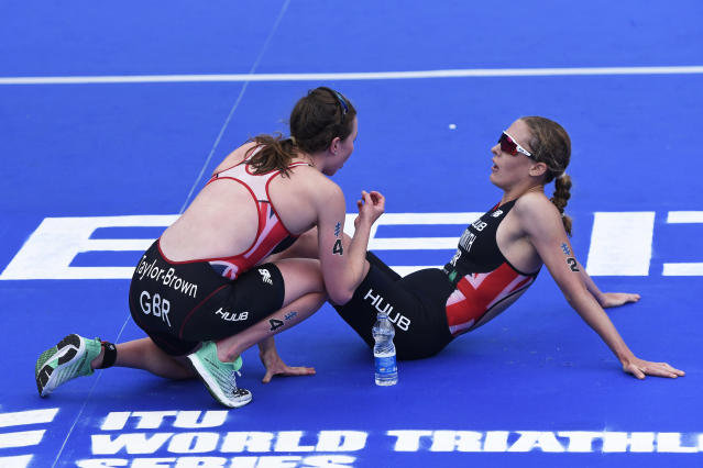 Georgia Taylor-Brown and Jessica Learmonth were disqualified from the Tokyo event. (Photo by George Wood/Getty Images)