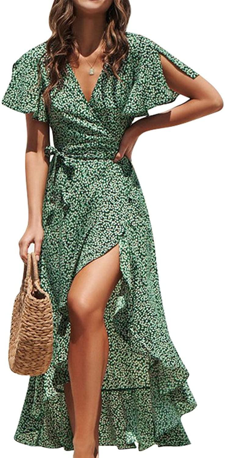 <p>You'll want to wear this <span>BerryGo Boho V Neck Ruffle Floral Wrap Dress</span> ($29-$37) all summer long.</p>