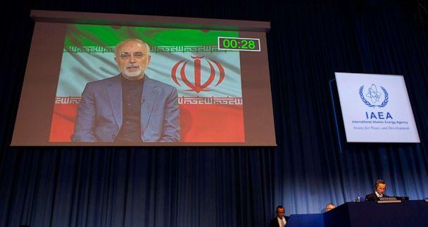 PHOTO: Iranian foreign minister, who attends virtually the 64th General Conference of the IAEA at the agency's headquarters in Vienna, Sept. 21, 2020. (Joe Klamar/AFP via Getty Images)