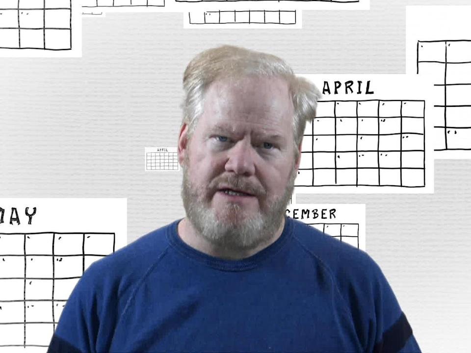 Comedian Jim Gaffigan ponders the perfect anniversary gift, to mark the passing of a year in which time did NOT fly by. / Credit: CBS News