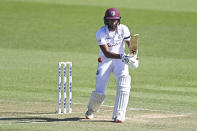 West Indies opener Kraigg Brathwaite bats during play on day two of the first cricket test between the West Indies and New Zealand in Hamilton, New Zealand, Friday, Dec. 4, 2020. (Andrew Cornaga/Photosport via AP)