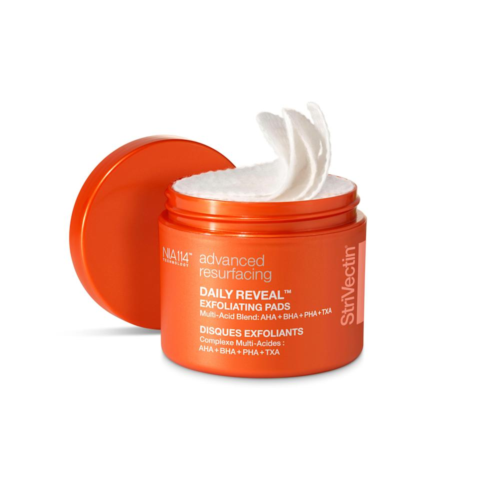 """<p>StriVectin Daily Reveal Exfoliating Pads are made with <a href=""""https://www.allure.com/gallery/what-you-didnt-know-about-lactic-salicylic-citric-glycolic-acid-creams?mbid=synd_yahoo_rss"""" rel=""""nofollow noopener"""" target=""""_blank"""" data-ylk=""""slk:glycolic"""" class=""""link rapid-noclick-resp"""">glycolic</a> and <a href=""""https://www.allure.com/story/what-does-salicylic-acid-do?mbid=synd_yahoo_rss"""" rel=""""nofollow noopener"""" target=""""_blank"""" data-ylk=""""slk:salicylic"""" class=""""link rapid-noclick-resp"""">salicylic</a> acids to clear up blemishes and resurface skin's texture. The micro-peel pads are gentle enough to use daily, and you'll get 60 saturated rounds in each tub, so that makes enough for roughly two months.</p> <p><strong>$45</strong> (<a href=""""https://www.amazon.com/StriVectin-Daily-Reveal-Exfoliating-Pads/dp/B089TPYFX3"""" rel=""""nofollow noopener"""" target=""""_blank"""" data-ylk=""""slk:Shop Now"""" class=""""link rapid-noclick-resp"""">Shop Now</a>)</p>"""