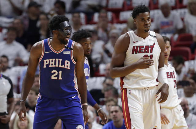 Joel Embiid, never one to miss a social media opportunity, piled on Hassan Whiteside after Pat Riley called him out to the media. (AP)