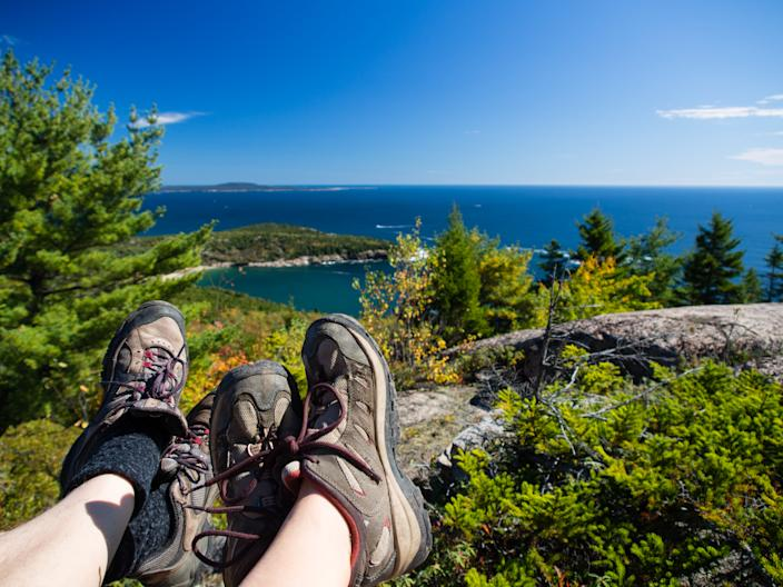 Resting at the top of a mountain in Acadia National Park. (Photo:Getty Images)