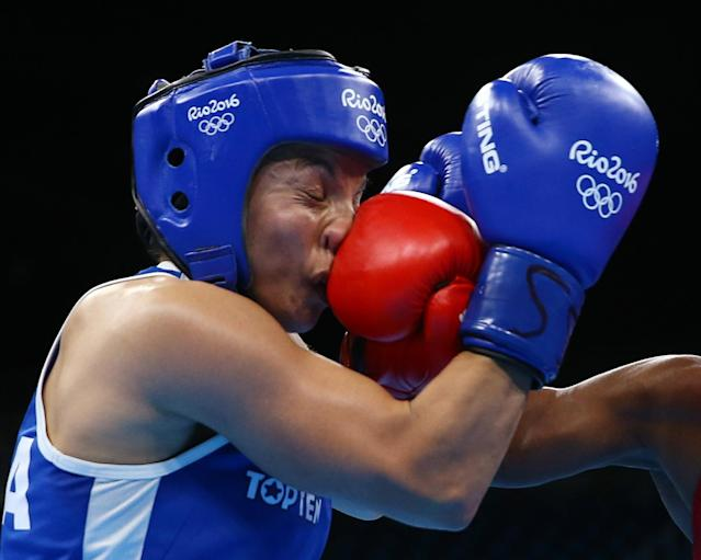 2016 Rio Olympics - Boxing - Final - Women's Fly (51kg) Final Bout 267 - Riocentro - Pavilion 6 - Rio de Janeiro, Brazil - 20/08/2016. Sarah Ourahmoune (FRA) of France competes. REUTERS/Peter Cziborra TPX IMAGES OF THE DAY. FOR EDITORIAL USE ONLY. NOT FOR SALE FOR MARKETING OR ADVERTISING CAMPAIGNS.