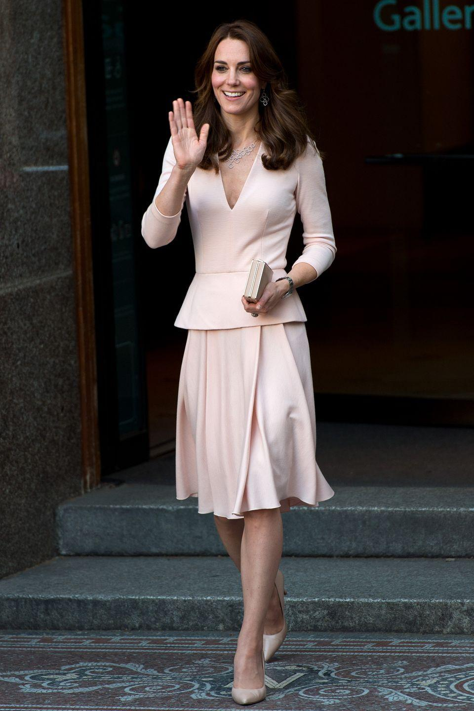 <p>Kate wore this pale pink ensemble to the <em>Vogue</em> 100: A Century of Style exhibition in 2016, which featured two photos of her from her first <em>Vogue</em> spread.</p>