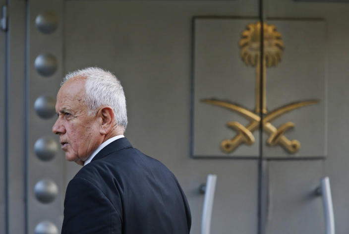 A security guard stands outside Saudi Arabia's consulate in Istanbul, Wednesday, Oct. 10, 2018. Turkish officials have said they believe Saudi writer and government critic Jamal Khashoggi, was killed inside the consulate after he visited the mission to obtain a document required to marry his Turkish fiancee. (AP Photo/Lefteris Pitarakis)