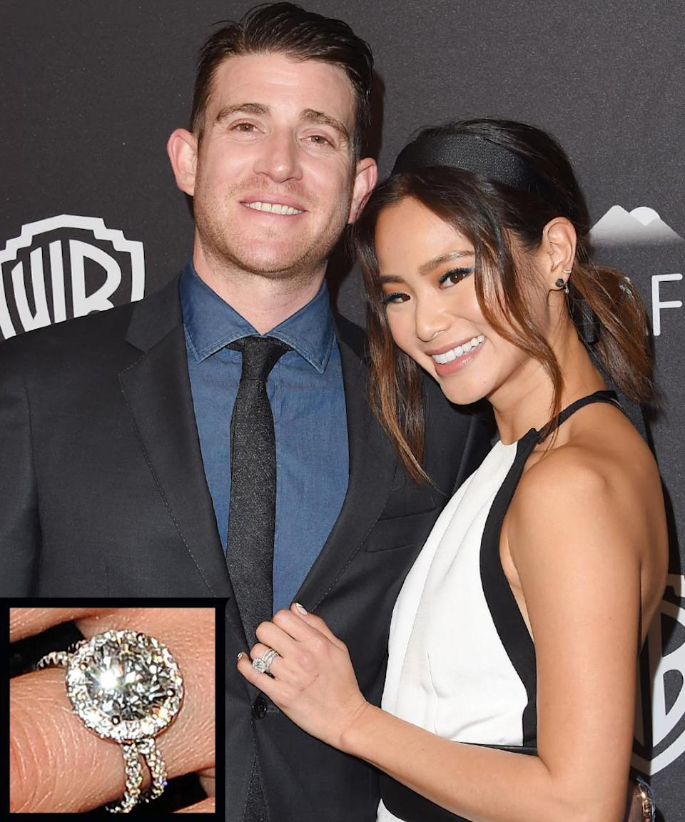 <p>Bryan Greenberg proposed to Jamie Chung during the holiday season in 2013 with a round cut stone encircled by a brilliant ring of diamonds, and set on a gorgeous pavé split-shank band. The couple wed in October 2015.</p>