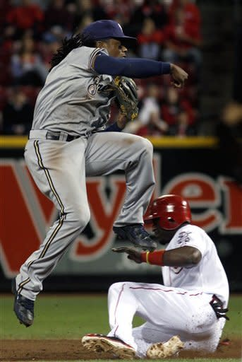 Cincinnati Reds' Brandon Phillips slides under Milwaukee Brewers' Rickie Weeks, left, as he completes a double play during the second inning of their baseball game in Cincinnati, Tuesday, Sept. 25, 2012. (AP Photo/Tom Uhlman)