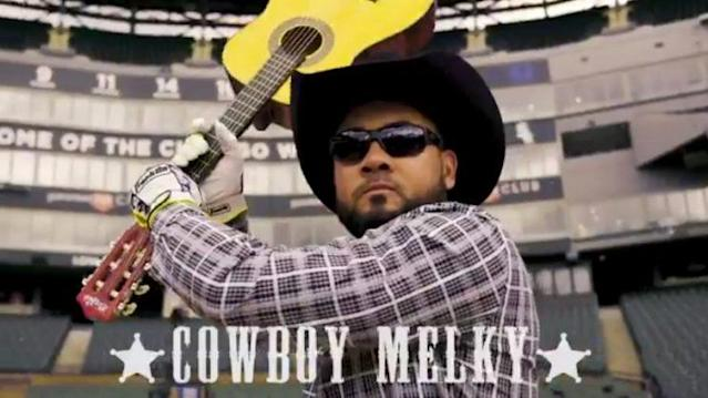 """<a class=""""link rapid-noclick-resp"""" href=""""/mlb/players/7595/"""" data-ylk=""""slk:Melky Cabrera"""">Melky Cabrera</a> plays Cowboy Melky in a White Sox promo video. (Twittter/@WhiteSox)"""